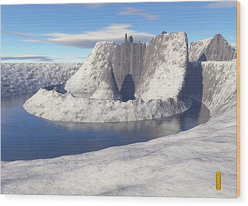 Volcano In A Lake Wood Print by David Jenkins