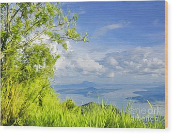 Volcano Within A Lake Wood Print by George Paris