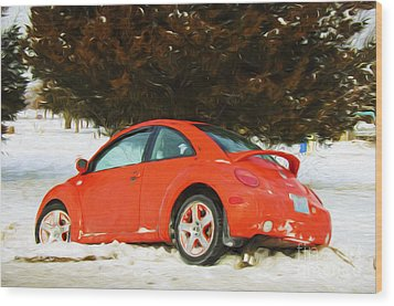 Volkswagen Snow Day Wood Print by Andee Design