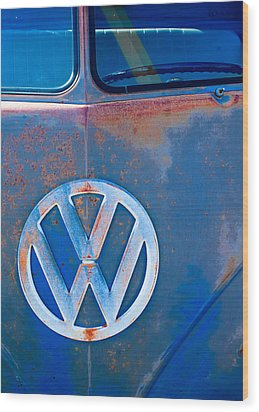 Volkswagen Vw Bus Emblem Wood Print by Jill Reger