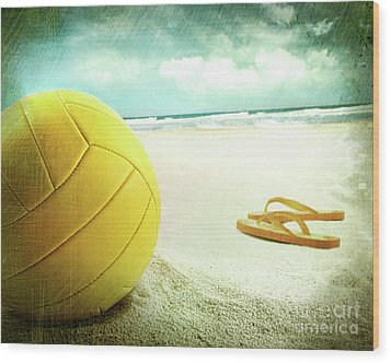 Volleyball In The Sand With Sandals Wood Print by Sandra Cunningham