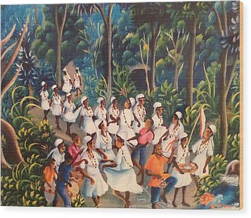 Voodoo Procession Wood Print by Haitian artist