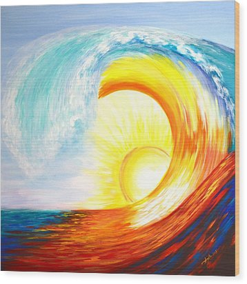 Wood Print featuring the painting Vortex Wave by Agata Lindquist