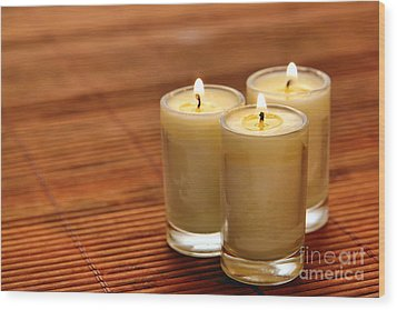 Votive Candle Burning Wood Print by Olivier Le Queinec