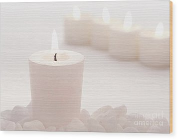 Votive Candle Wood Print by Olivier Le Queinec