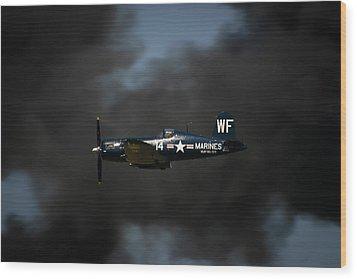Vought F4u Corsair Wood Print by Adam Romanowicz