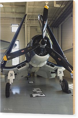 Wood Print featuring the photograph Vought Fg-1d Corsair by Rebecca Davis