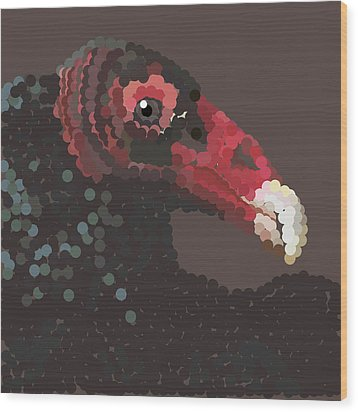 Vulture Pixel Pointillized Wood Print by R  Allen Swezey