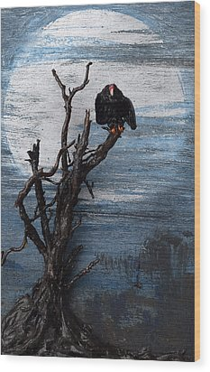 Vulture With Blue Moon Wood Print