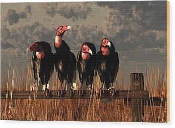 Vultures On A Fence Wood Print by Daniel Eskridge