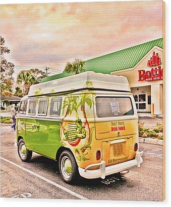 Vw Bus Stop Wood Print