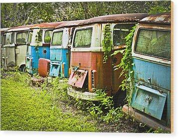 Vw Buses Wood Print by Carolyn Marshall