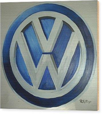 Vw Logo Blue Wood Print