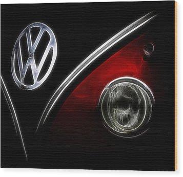 Vw Micro Bus Logo Wood Print by Steve McKinzie