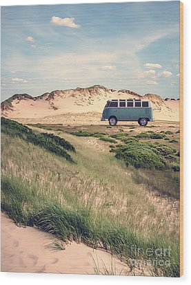 Vw Surfer Bus Out In The Sand Dunes Wood Print by Edward Fielding