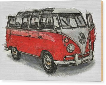 Wood Print featuring the painting Vw Van - Red Art Print by Georgi Dimitrov