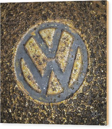 Vw - Volkswagon Hubcap Wood Print by Betty Denise