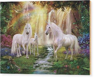 Waaterfall Glade Unicorns Wood Print by Jan Patrik Krasny