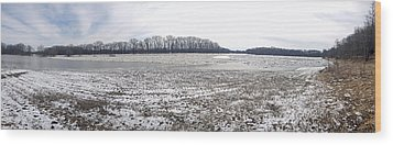 Wabash River Ice Jam Panorama Wood Print