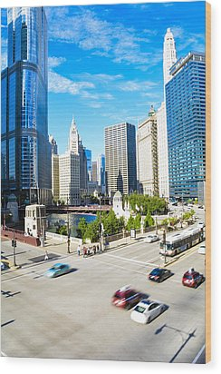 Wacker And State  Wood Print by Michael  Bennett