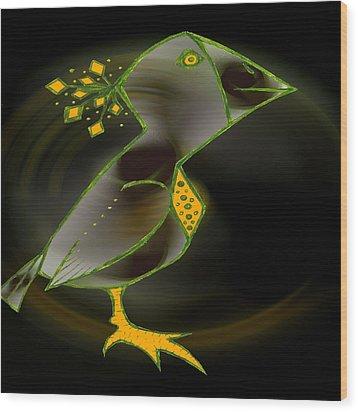 Wacko Bird Wood Print by Josephine Ring