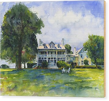 Wades Point Inn Wood Print by John D Benson