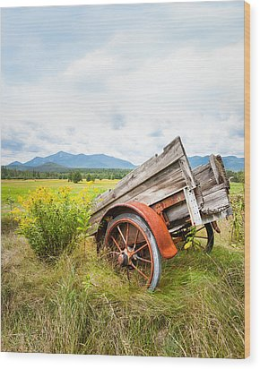 Wood Print featuring the photograph Wagon And Wildflowers - Vertical Composition by Gary Heller