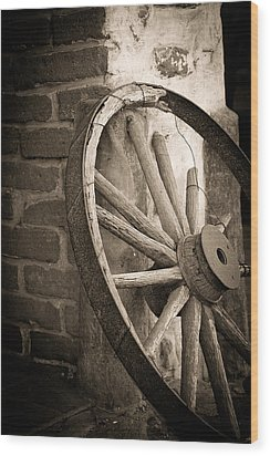 Wagon Wheel Wood Print by Peter Tellone
