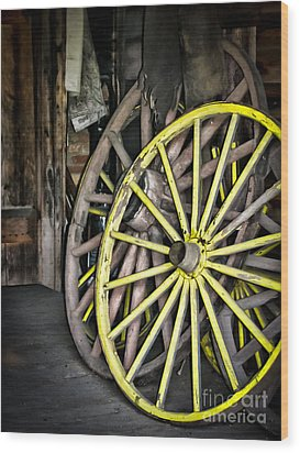 Wagon Wheels Wood Print by Colleen Kammerer