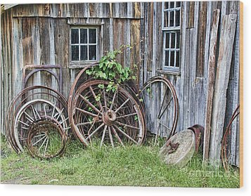 Wagon Wheels In Color Wood Print by Crystal Nederman