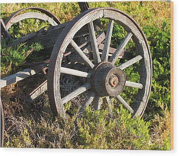 Wagon Wheels Wood Print by Steven Parker