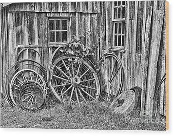 Wagons Lost Wood Print by Crystal Nederman