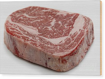 Wagyu Ribeye Steak Raw Wood Print by Paul Cowan