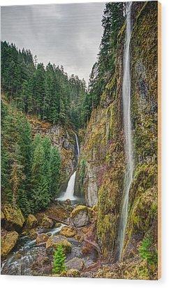 Wood Print featuring the photograph Wahclella Falls by Brian Bonham