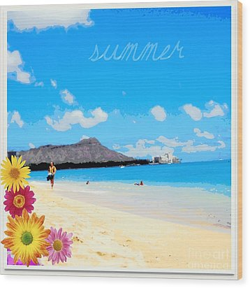 Wood Print featuring the photograph Waikiki Beach by Mindy Bench
