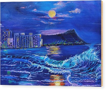 Waikiki Lights Wood Print