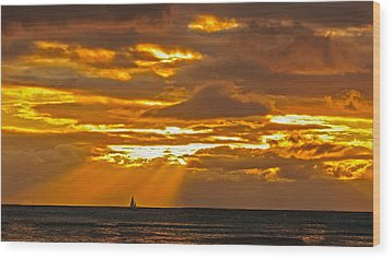 Wood Print featuring the photograph Waikiki Sun Set by John Johnson