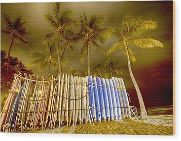Waikiki Surf Wood Print by Douglas Barnard