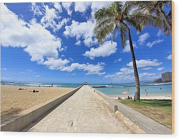Waikiki Wall Wood Print by DJ Florek