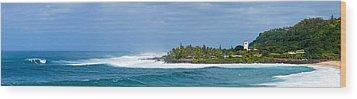 Waimea Bay Panorama Wood Print by Kevin Smith