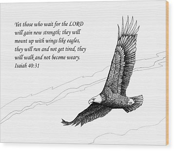 Wood Print featuring the drawing Wait For The Lord by Janet King