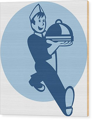 Waiter Cook Chef Baker Serving Food Wood Print by Aloysius Patrimonio