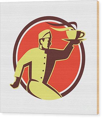 Waiter Serving Coffee Cup Retro Wood Print by Aloysius Patrimonio