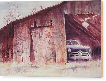 Wood Print featuring the painting Waitin In The Shade by John  Svenson