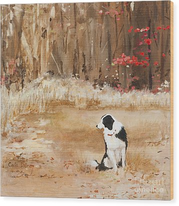 Waiting At Woods Edge Wood Print by Carla Dabney