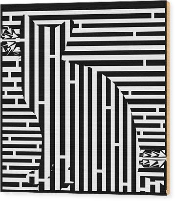 Waiting Cat Maze Wood Print by Yonatan Frimer Maze Artist