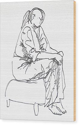 Waiting Wood Print by Deborah Dendler
