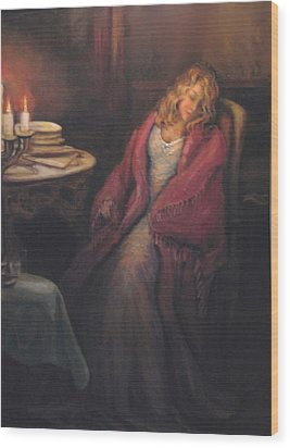 Wood Print featuring the painting Waiting by Donna Tucker