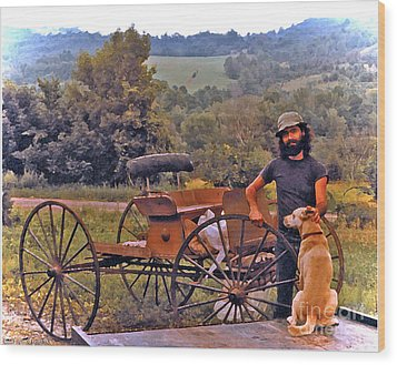 Waiting For A Lift On The Old Buckboard Wood Print by Patricia Keller