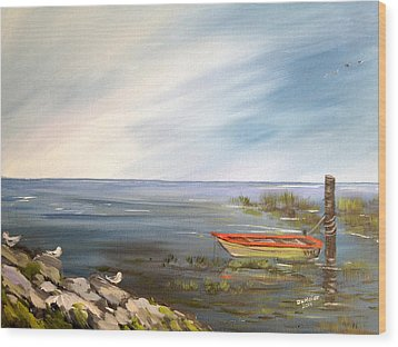 Waiting For The Fisherman Wood Print by Dorothy Maier